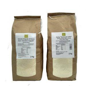 KIT: Farina 2 Kg + Semola Integrale Grano Duro 2 Kg